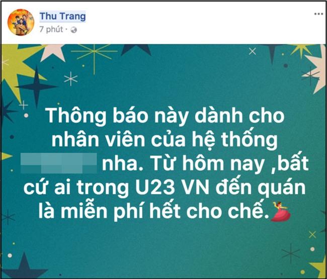 Nữ diễn viên hài Thu Trang tuyên bố miễn phí toàn bộ cho các cầu thủ U23 Việt Nam nếu ghé chuỗi cửa hàng của cô ăn. - Tin sao Viet - Tin tuc sao Viet - Scandal sao Viet - Tin tuc cua Sao - Tin cua Sao