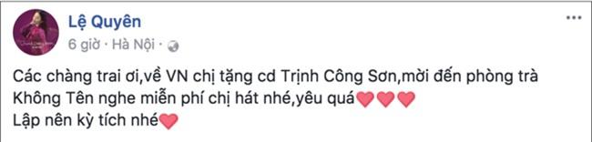 Lệ Quyên muốn tặng CD Trịnh Công Sơn cho U23 Việt Nam và mời các cầu thủ đến phòng trà của cô để nghe hát miễn phí. - Tin sao Viet - Tin tuc sao Viet - Scandal sao Viet - Tin tuc cua Sao - Tin cua Sao