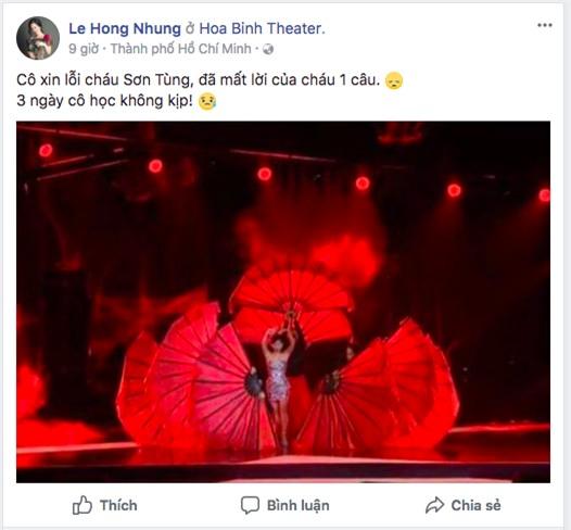 Diva Hồng Nhung xin lỗi Sơn Tùng dù chỉ mắc lỗi nhỏ khi cover Lạc trôi - Ảnh 1.