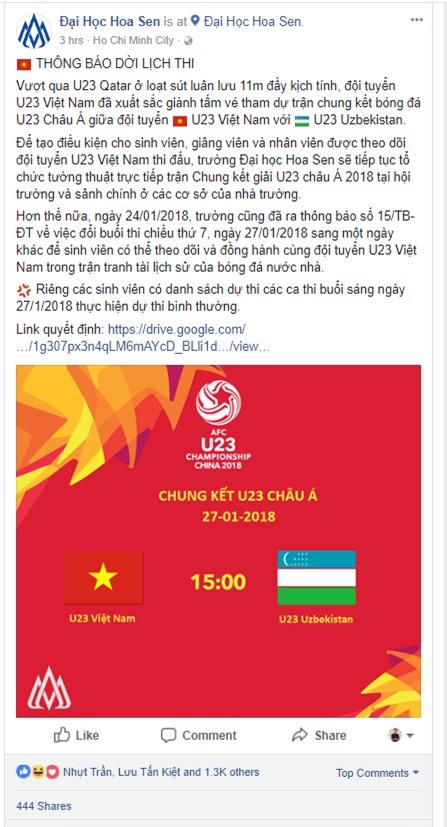 Một trường ĐH hoãn thi cho sinh viên xem U23 Việt Nam đá Chung kết - Ảnh 2.