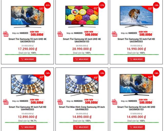 Nhiều đại lý bán hàng online đang giảm giá TV màn hình lớn, TV 4K khá hấp dẫn.