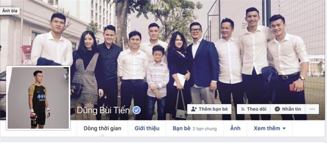 Facebook chính chủ của thủ môn Bùi Tiến Dũng có tick dấu xanh bên phải