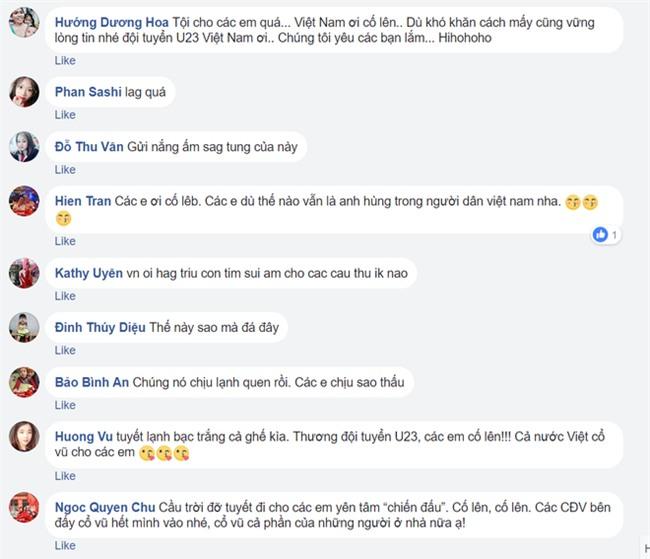 Người hâm mộ Việt Nam lo lắng, xót xa khi cầu thủ U23 phải ra sân khi tuyết vẫn rơi dày - Ảnh 9.