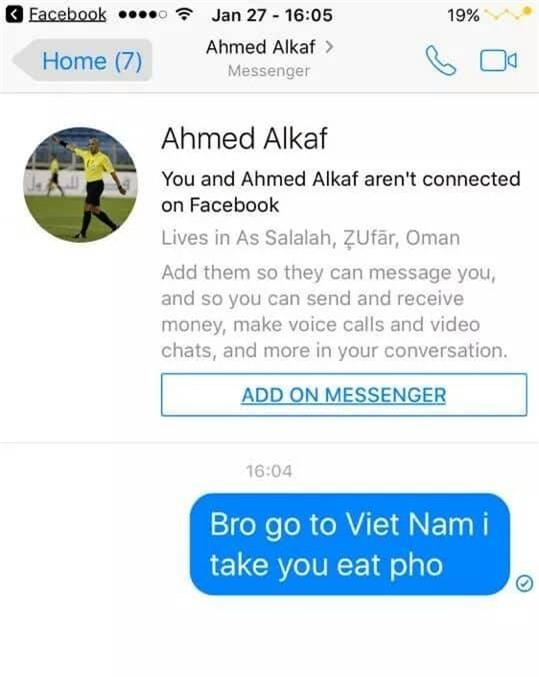 Dân mạng nhắn tin vào facebook được cho là trọng tài người Oman, rủ về Việt Nam ăn phở! - Ảnh 1.