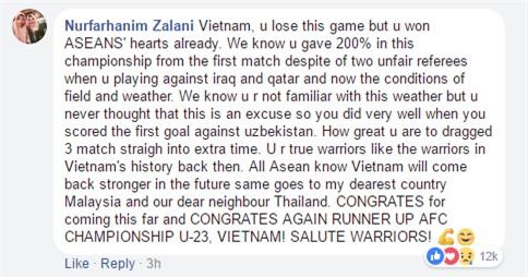 Bình luận của fan nước ngoài khiến bao người thổn thức: Việt Nam, các bạn thua trận nhưng đã giành được trái tim của cả ASEAN rồi - Ảnh 2.