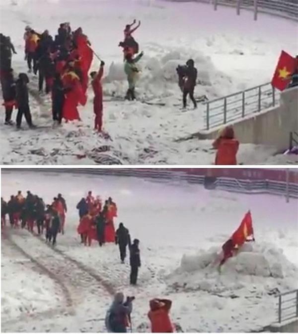 Khoảnh khắc xúc động: Duy Mạnh cắm lá cờ Việt Nam trên tuyết, cúi chào Quốc kỳ sau chung kết-3