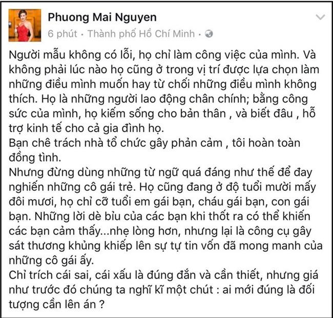 Cựu siêu mẫuPhương Mai cho rằng việc các người mẫu trên chuyến bay của U23 Việt Nam bị chỉ trích là không đúng, vì đó là công việc mà họ làm, cho nên, chỉ nên chê trách đơn vị tổ chức. - Tin sao Viet - Tin tuc sao Viet - Scandal sao Viet - Tin tuc cua Sao - Tin cua Sao