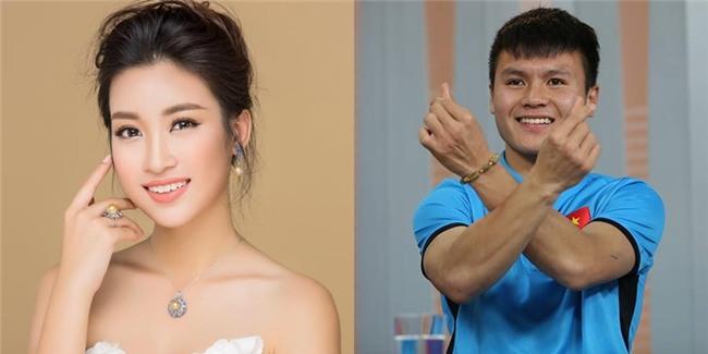 Quang Hải thẹn thùng ngoảnh mặt khi trao hoa cho Hoa hậu Đỗ Mỹ Linh-1
