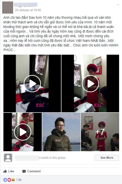 Clip: Đám hỏi qua màn hình máy tính của cô dâu ở Việt Nam, chú rể ở Nhật Bản sau 10 năm yêu nhau - Ảnh 2.
