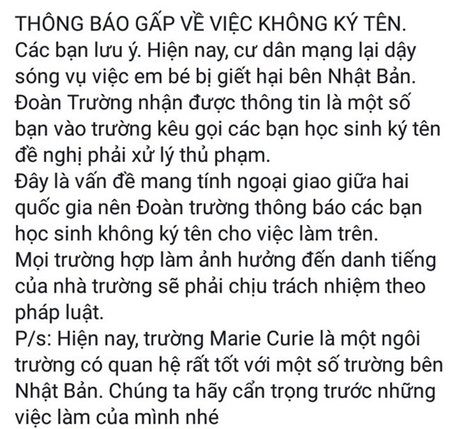 Truong Marie Curie noi gi ve keu goi khong ky ung ho be Nhat Linh? hinh anh 1