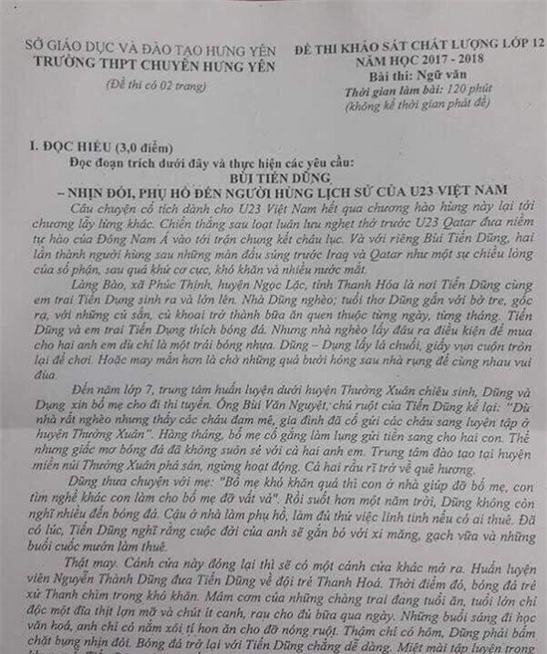 Đề Văn của khối 12 Trường THPT Chuyên Hưng Yên (Hưng Yên)
