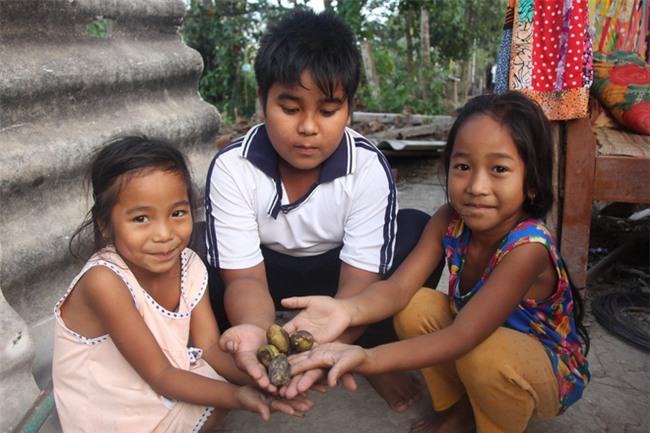 Xót cảnh 3 đứa trẻ không rành tiếng Việt theo bà cố đi lượm trái bàng về bán lấy tiền nuôi bà ngoại khùng - Ảnh 17.