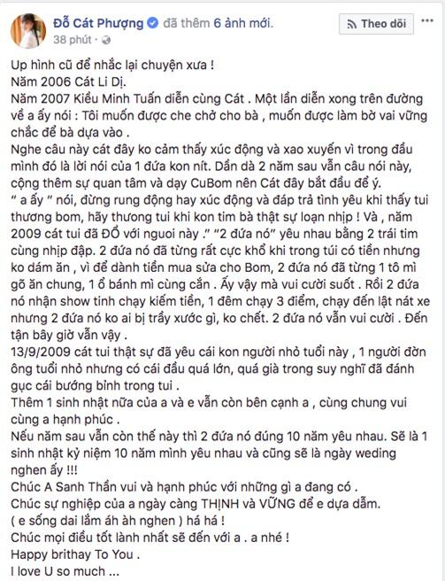 Cát Phượng chúc mừng sinh nhật Kiều Minh Tuấn kèm lời nhắn ngọt ngào: Nếu năm sau còn yêu thì mình sẽ cưới! - Ảnh 1.