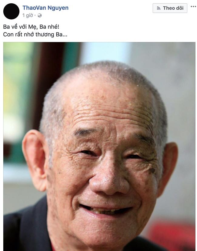 Hà Anh, Bảo Thanh gửi lời chia buồn khi bố MC Thảo Vân đột ngột qua đời - Ảnh 1.