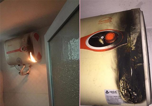Bình nước nóng hiệu Nasuta gặp vấn đề gây cháy, nổ trong quá trình sử dụng.