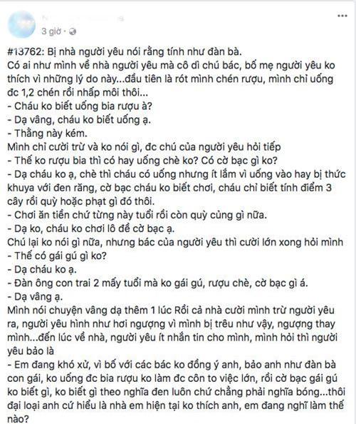 """khong ruou che co bac gai gu, nam thanh nien bi ca nha ban gai che """"nhu dan ba"""" - 1"""
