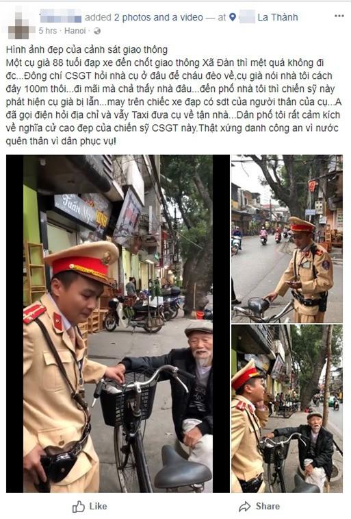 Clip dễ thương: Chiến sĩ CSGT Hà Nội giúp đỡ, chở cụ già bị lạc đường trên chiếc xe đạp để về nhà - Ảnh 2.