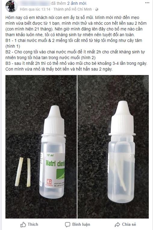 Các bác sĩ cảnh báo về cách chữa sổ mũi bằng tỏi ngâm nước muối sinh lý đang được các mẹ lan truyền - Ảnh 1.
