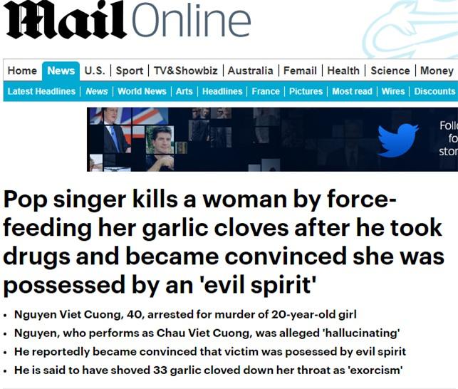 Dailymail đưa tin về vụ ca sĩ Châu Việt Cường sát hại cô gái trẻ - Ảnh 1.