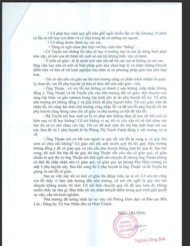 Tường trình của hiệu trưởng Huỳnh Công Sơn về sự việc cô giáo quỳ