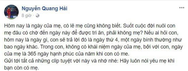 Sao U23 Việt Nam gây xúc động khi viết về mẹ ngày 8/3 - Ảnh 2.