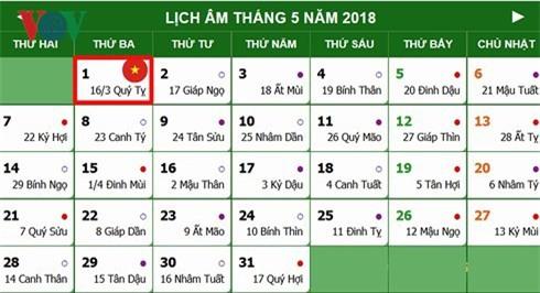 Lịch nghỉ chính thức Giỗ Tổ Hùng Vương, 30/4 và 01/5/2018 - Ảnh 1.