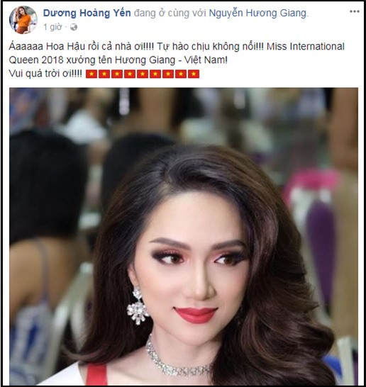 Làng giải trí Việt vỡ òa khi Hương Giang đăng quang Hoa hậu Chuyển giới Quốc tế 2018-10