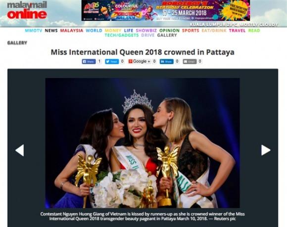 Hương Giang, báo nước ngoài đưa tin về Hương Giang, Hoa hậu chuyển giới Quốc tế