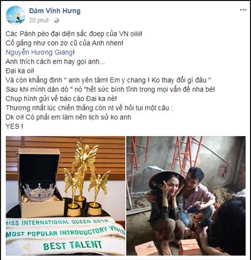 Đàm Vĩnh Hưng bất ngờ công khai Hoa hậu Chuyển giới Hương Giang Idol là vợ cũ-1
