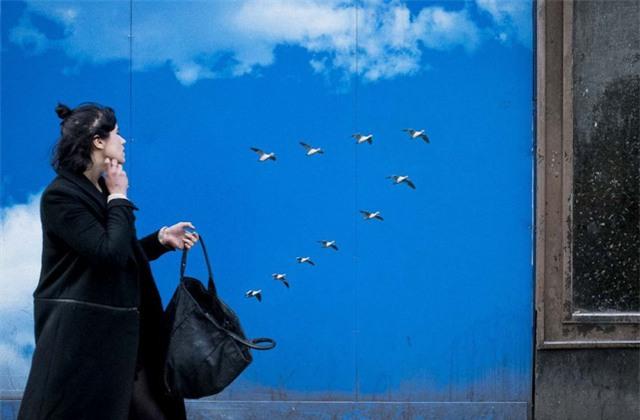 Đàn chim trông tưởng như bay ra từ chiếc túi của người phụ nữ.