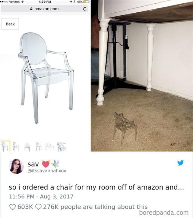 Đặt mua ghế trên Amazon, và đây là kết cục dở khóc dở cười
