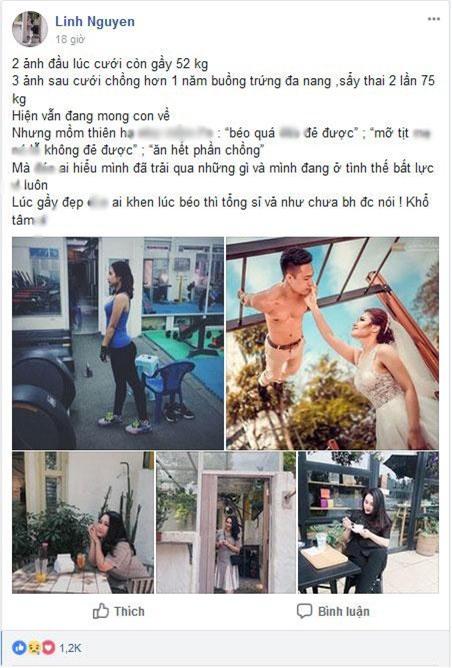 """say thai 2 lan, tang 23 kg sau cuoi, co vo tre con bi trach """"beo qua khong de duoc"""" - 1"""
