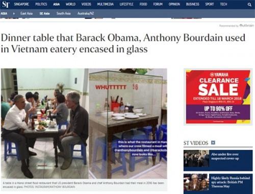 Hình ảnh bàn ông Obama ăn bún chả lồng kính lên báo nước ngoài - Ảnh 2.