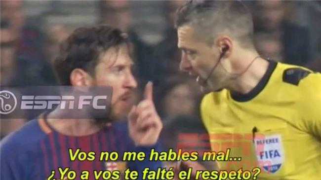 Messi dằn mặt trọng tài vì bị quát tháo - Ảnh 1.