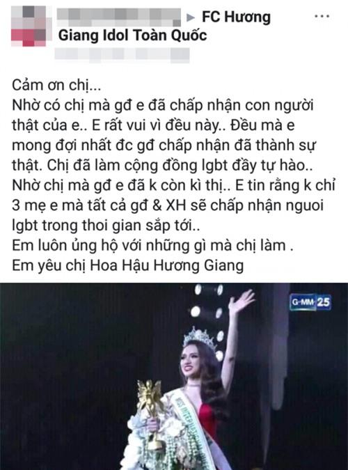 Hoa hậu Hương Giang sởn da gà đọc thư fan: Nhờ chị mà gia đình chấp nhận giới tính thật của em - Ảnh 2.