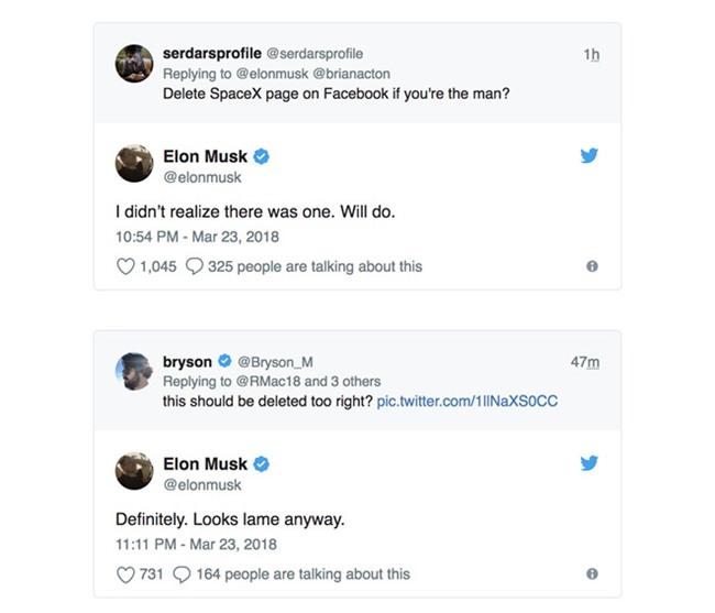Bi khieu khich, Elon Musk xoa Facebook cua Tesla va Space X hinh anh 1