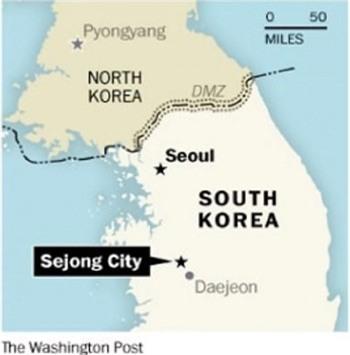 Sejong nằm cách thủ đô Seoul khoảng 120km về phía nam (Đồ họa: Washington Post)