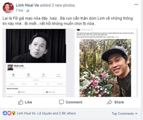 """danh hai hoai linh bi lap facebook gia mao, le quyen """"len tieng"""" hinh anh 1"""