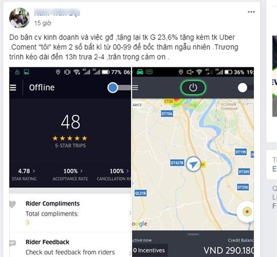 Một kiểu rao bán tài khoản Grab có kèm theo tài khoản Uber có số tiền thưởng thường thấy trong những ngày gần đây trên mạng