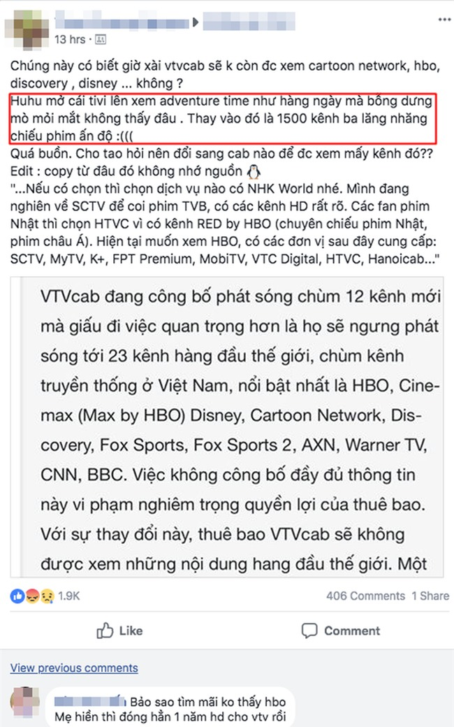 """Người xem VTVcab bức xúc trước sự """"biến mất"""" của 23 kênh truyền hình: """"Không ai nhận được bất kì thông báo nào cả!"""" - Ảnh 1."""