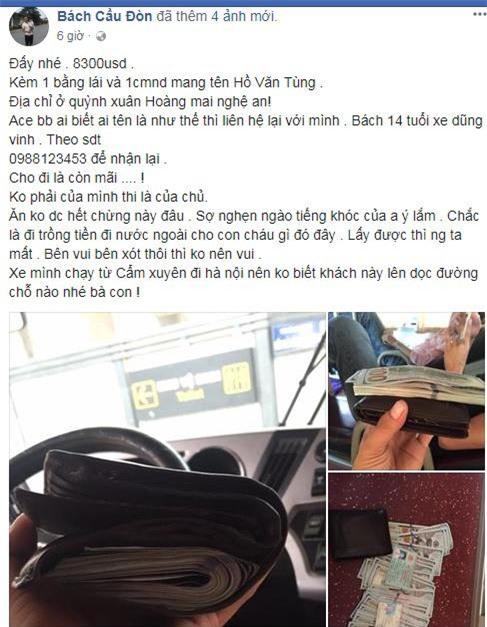 """phu xe khach """"dang dan"""" mang xa hoi tim nguoi danh roi 180 trieu dong de tra lai - 1"""