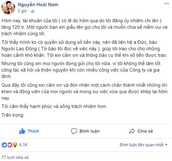 Doanh nhân Nguyễn Hoài Nam mong mọi người dừng gửi tiền trợ giúp qua tài khoản - Ảnh 1.