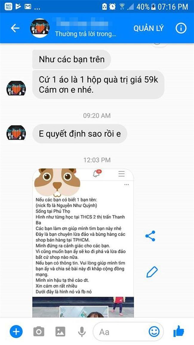 Cô gái căng thẳng không dám đi học vì mới inbox hỏi tư vấn mua áo online đã bị chủ shop tố chuyên lừa đảo và bùng hàng ở TP. HCM - Ảnh 3.