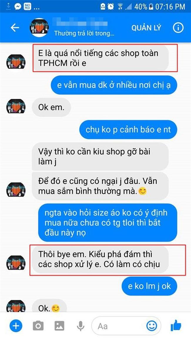 Cô gái căng thẳng không dám đi học vì mới inbox hỏi tư vấn mua áo online đã bị chủ shop tố chuyên lừa đảo và bùng hàng ở TP. HCM - Ảnh 6.