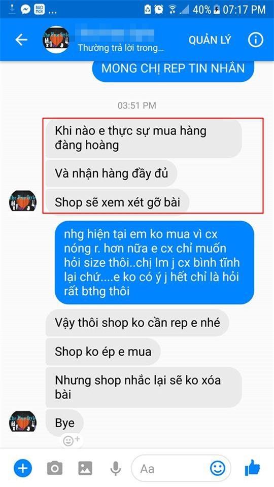 Cô gái căng thẳng không dám đi học vì mới inbox hỏi tư vấn mua áo online đã bị chủ shop tố chuyên lừa đảo và bùng hàng ở TP. HCM - Ảnh 7.