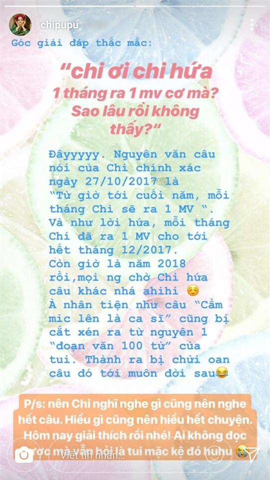 Đây là phản ứng của Chi Pu khi fan chất vấn phát ngôn mỗi tháng ra một MV - Ảnh 1.