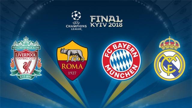 Bốn đội lọt vào vòng bán kết Champions League