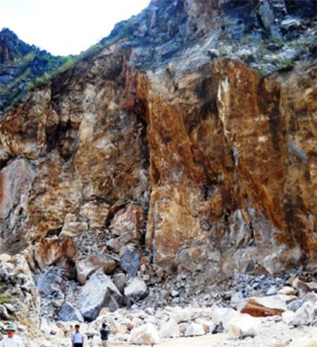 Nơi nạn nhân bị đá rơi thiệt mạng