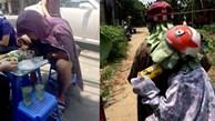 Đội lá cây, đi xe máy ngược chiều 'đối phó' nắng gắt