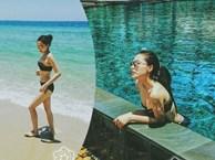 Hoa hậu Kỳ Duyên mặc bikini khoe dáng trên bãi biển